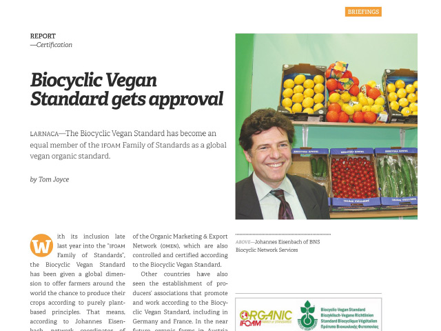 Biocyclic Vegan Standard gets approval – EUROFRUIT – February 2018