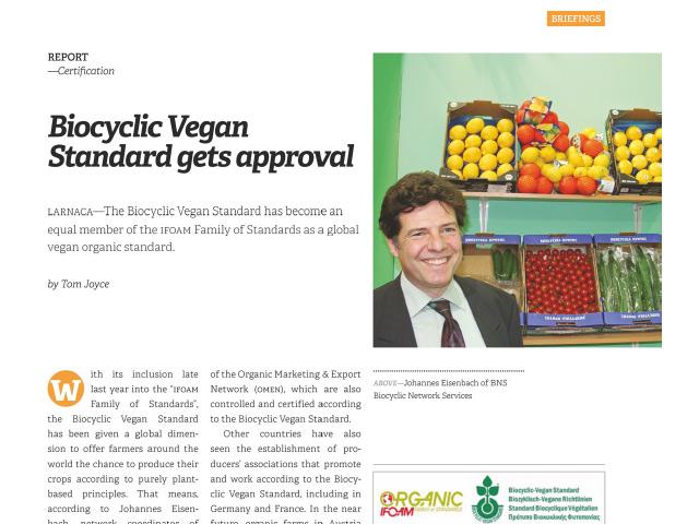 Biocyclic Vegan Standard gets approval – EUROFRUIT – February 2018