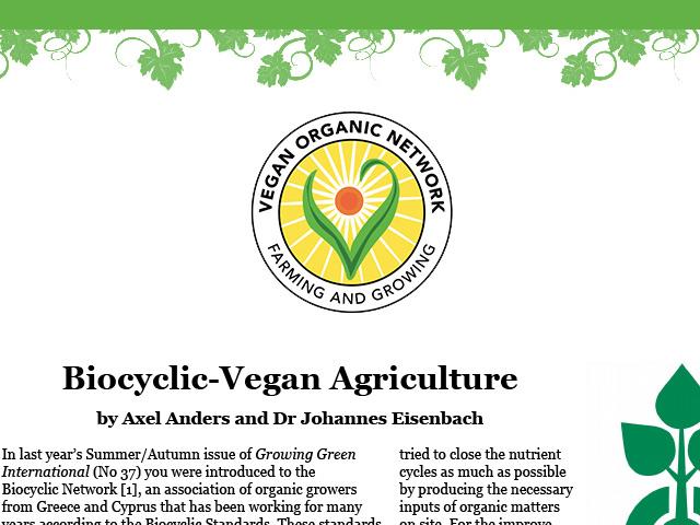 Biocyclic Vegan Agriculture – VEGANORGANIC.NET – 2017